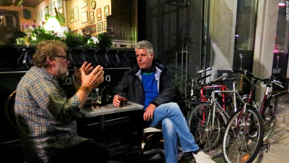 While in Copenhagen, Bourdain also meets up with local Niels for a glass of Gammel Dansk, a traditional Danish bitter.