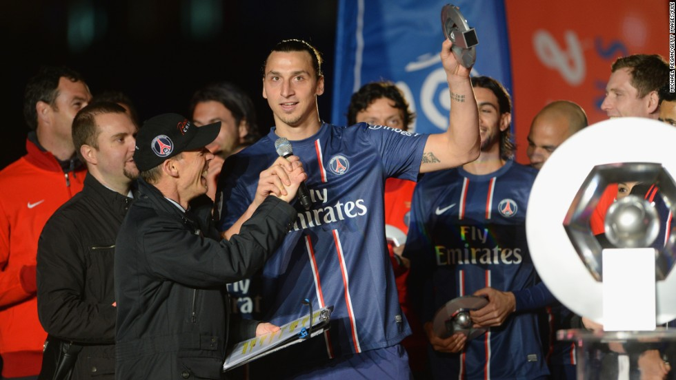 Ibrahimovic's first season in Paris ended in glory. The Swede scored 30 league goals as PSG stormed to the French First Division title.