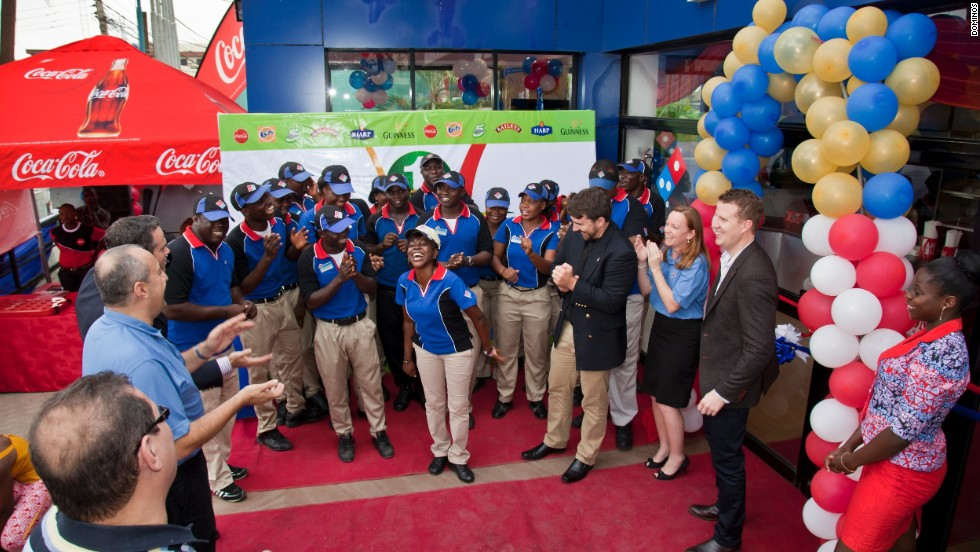 The opening of a Domino's Pizza store in Lagos, Nigeria's largest city, in 2012. The company's first outlet in Africa opened in Cairo, Egypt, in 1995.