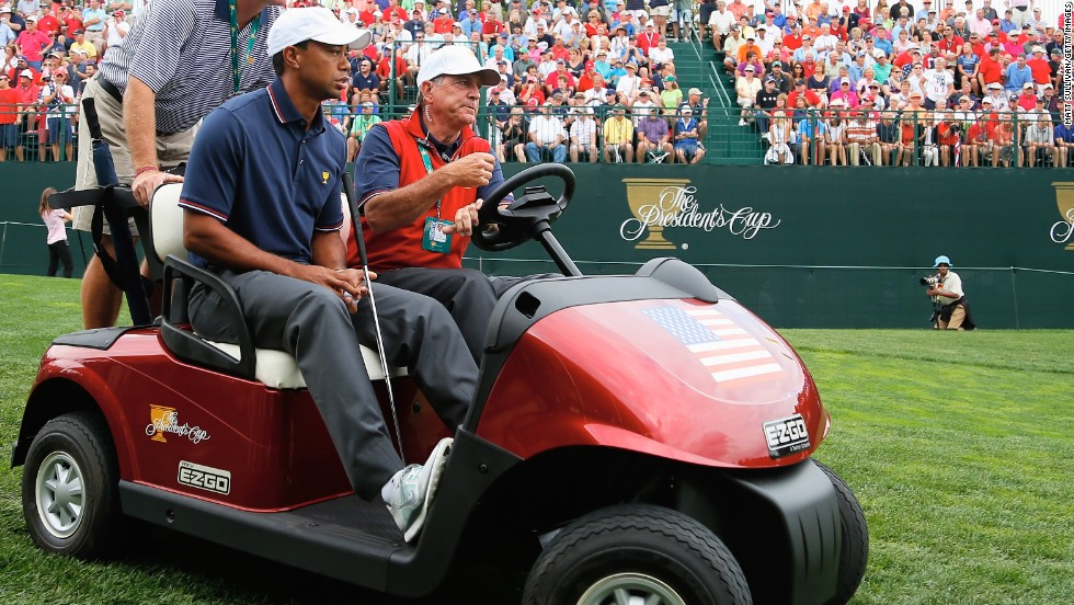 Woods got a ride as he made his way around the course. He'll fully expect to be on the winning team this weekend, given the U.S. has won four straight times in the Presidents Cup.