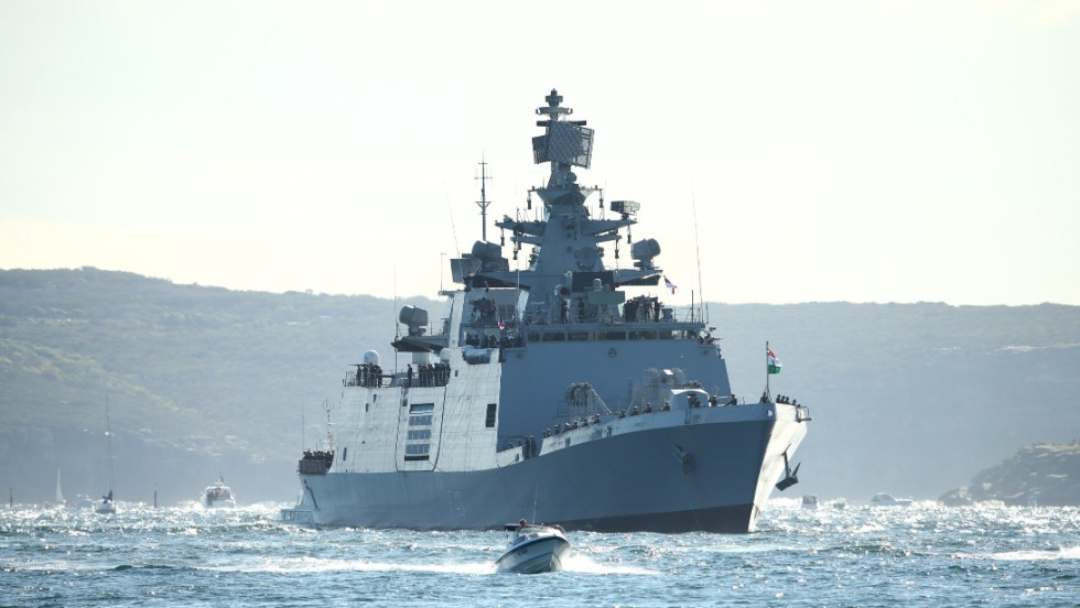 The Indian Navy warship INS Sahyadri arrives on October 4.