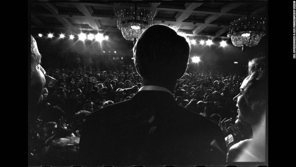 "Sen. Robert Kennedy gives a speech at the Ambassador Hotel in Los Angeles before his assassination, June 1968. <a href=""http://life.time.com/bill-eppridge/"" target=""_blank"">See more of Eppridge's work at LIfe.</a>"
