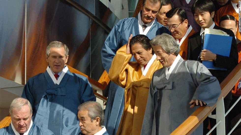 "In Busan (2005), South Korea, APEC members <a href=""http://www.apec.org/About-Us/About-APEC/History.aspx"" target=""_blank"">agreed to confront pandemic health threats</a>, such as bird flu, and to appear not at all uncomfortable with the high-waisted flair of traditional Korean hanbok."