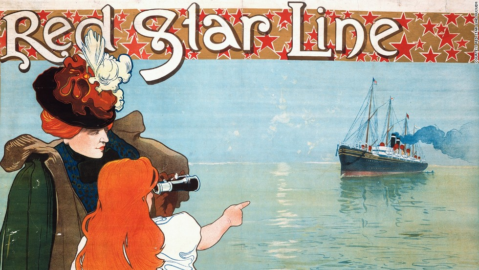 A poster advertises the Red Star Line in 1899. The company enjoyed a golden era of transatlantic ocean travel, and during its heyday two vessels left for North America each week. Over two million passengers sailed between Europe and the New World with the boat company before its closure in 1934, including one Nobel Prize winning scientist......