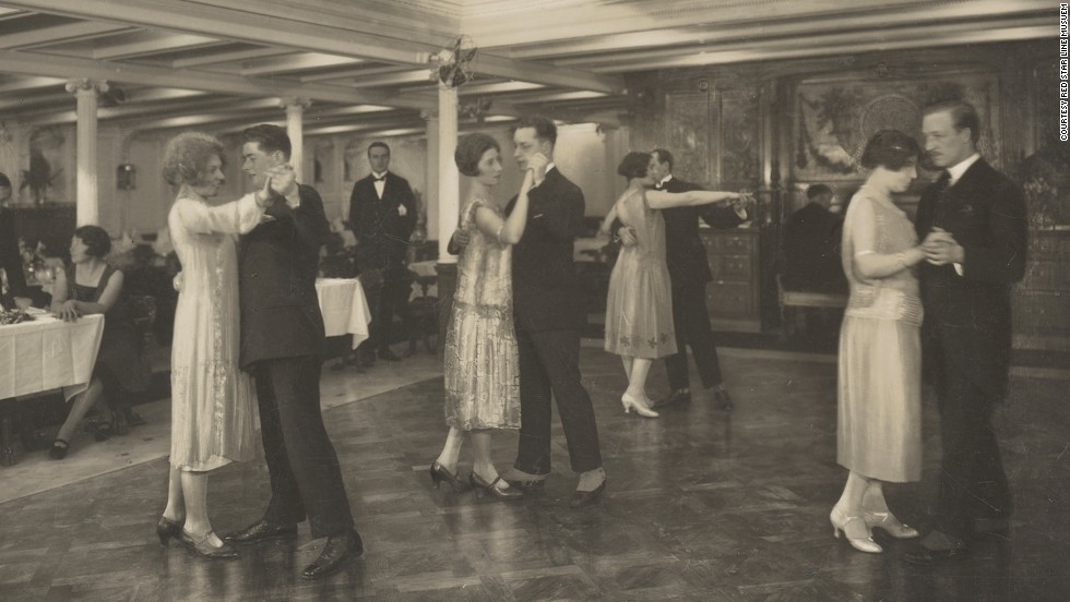 It was a different story for first class passengers, who had all the comforts of a luxury hotel, such as this ballroom pictured in 1910.