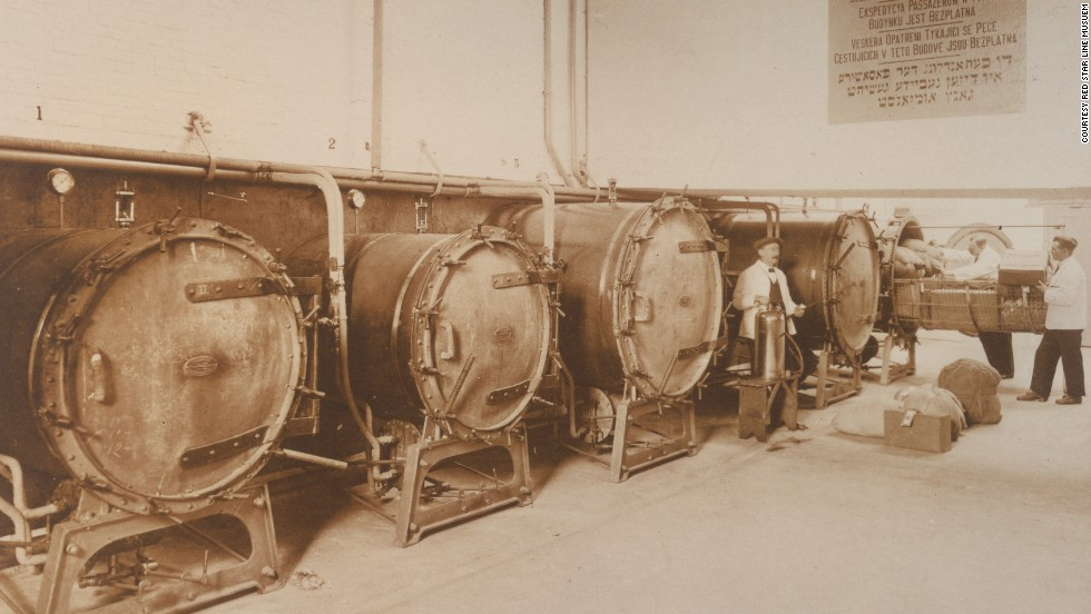 Before boarding, third class passengers would also take hour-long showers with hot vinegar and benzene, cleaning them of lice, while their luggage was disinfected in large steam sterilizing machines (pictured).