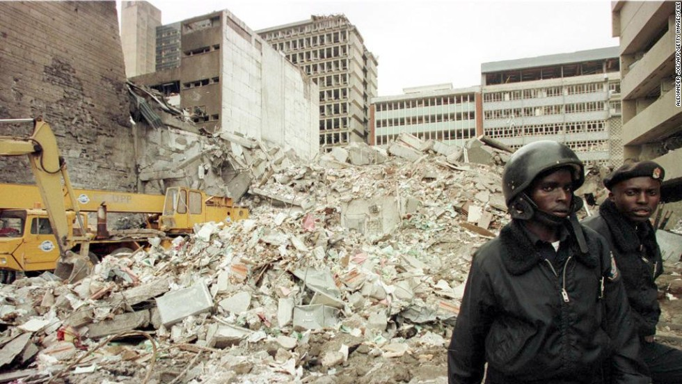 The blast on August 7, 1998 at the U.S. Embassy in Nairobi, Kenya, killed more than 200 people. Kenyan security guards keep watch on August 8, 1998, at the scene of explosion.