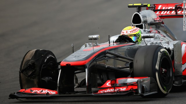 "The right-front tire of Sergio Perez's McLaren ""exploded"" during Sunday's Korean Grand Prix, sparking safety fears."