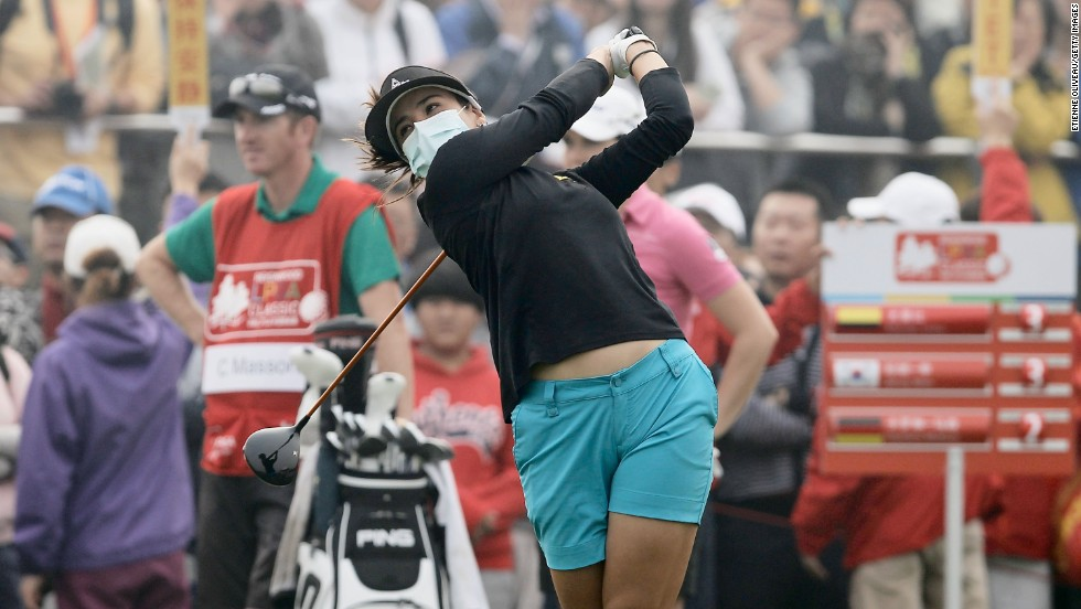 Mariajo Uribe of Colombia was another to take to the fairways wearing a mask during the final round of play of China's first LPGA event.