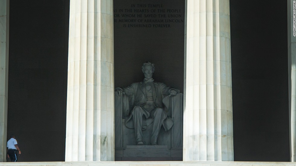 A single security guard patrols the closed Lincoln Memorial in Washington on October 3 during the government shutdown. The memorial came in fifth place for visitation.