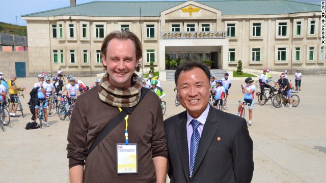 Journalist Johan Nylander and his North Korean guide, Ko Chang Ho.