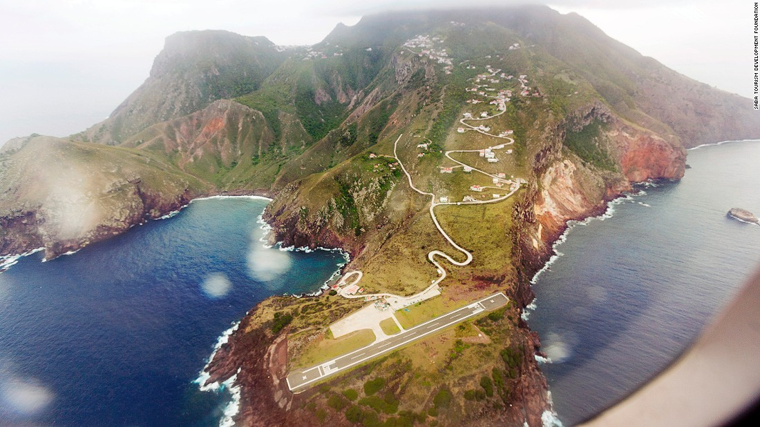 Juancho E Irausquin Airport is the only airport on the Caribbean island of Saba, a special municipality of the Netherlands. It's got the shortest commercial runway in the world (396 meters) and is flanked on one side by high hills, with cliffs that drop into the sea at both ends, says PrivateFly. Due to the runway length, only small aircraft and helicopters use it.