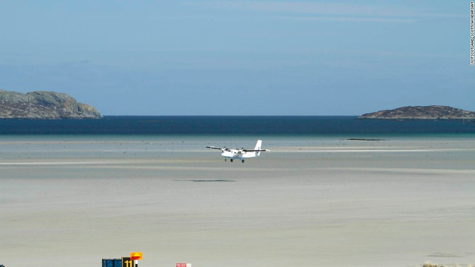 Barra Airport in Scotland is the only airport in the world where scheduled and private charter flights land and take off from the beach. At high tide, the runways are under water, says PrivateFly.