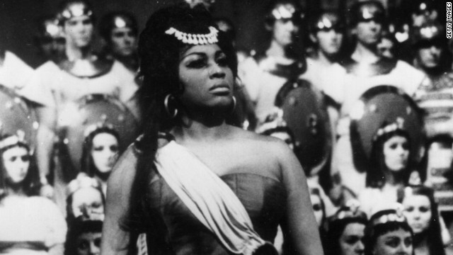 "Leontyne Price of the Metropolitan Opera in a dress rehearsal for ""Aida"" at the Paris Opera on February 1, 1968."