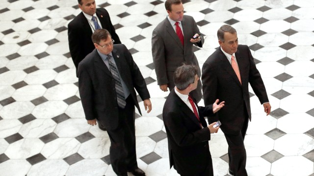 Speaker of the House John Boehner walks from the House floor following a vote October 10, 2013 in Washington, DC.