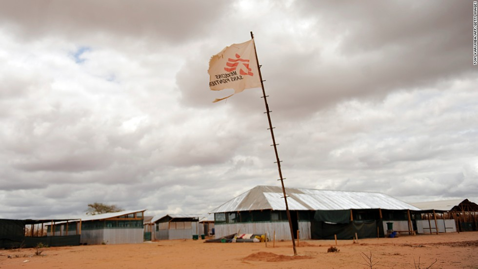 A flag bearing the logo of Medecins sans Frontieres (also known as Doctors Without Borders) stands in the middle of a makeshift clinic at Kenya's Dadaab refuge on October 16, 2011. Medicins sans Frontieres won the Nobel Peace Prize in 1999.