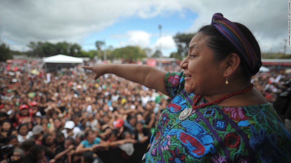 Rigoberta Menchu campaigns in the Alameda neighborhood of Guatemala City, Guatemala, on November 4, 2011. Menchu won the Nobel Peace Prize in 1992.