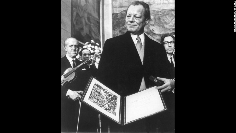 German Chancellor Willy Brandt poses after being awarded the Nobel Peace Prize n Oslo on December 10, 1971.