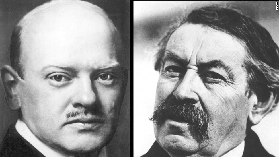 German politician and industrialist Gustav Stresemann, left, and French politician Aristide Briand received the Nobel Peace Prize in 1926.