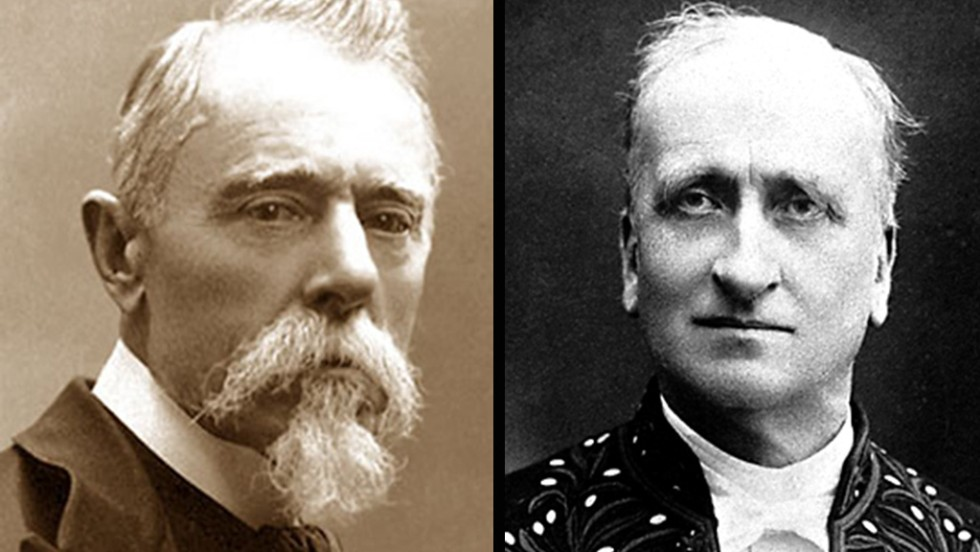 The Nobel Peace Prize in 1907 was awarded jointly to Italian journalist Ernesto Teodoro Moneta, left, and French industrialist Louis Renault.