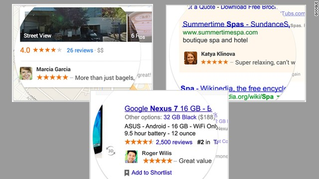 These examples show how an endorsement might appear in Google Maps, a Google search or Google Shopping.
