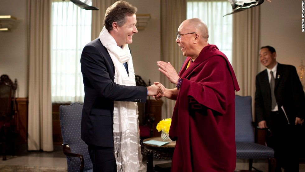 "The Dalai Lama presented Morgan with a white Tibetan khata ceremonial scarf. ""He exudes such warmth and serenity,"" wrote Morgan."