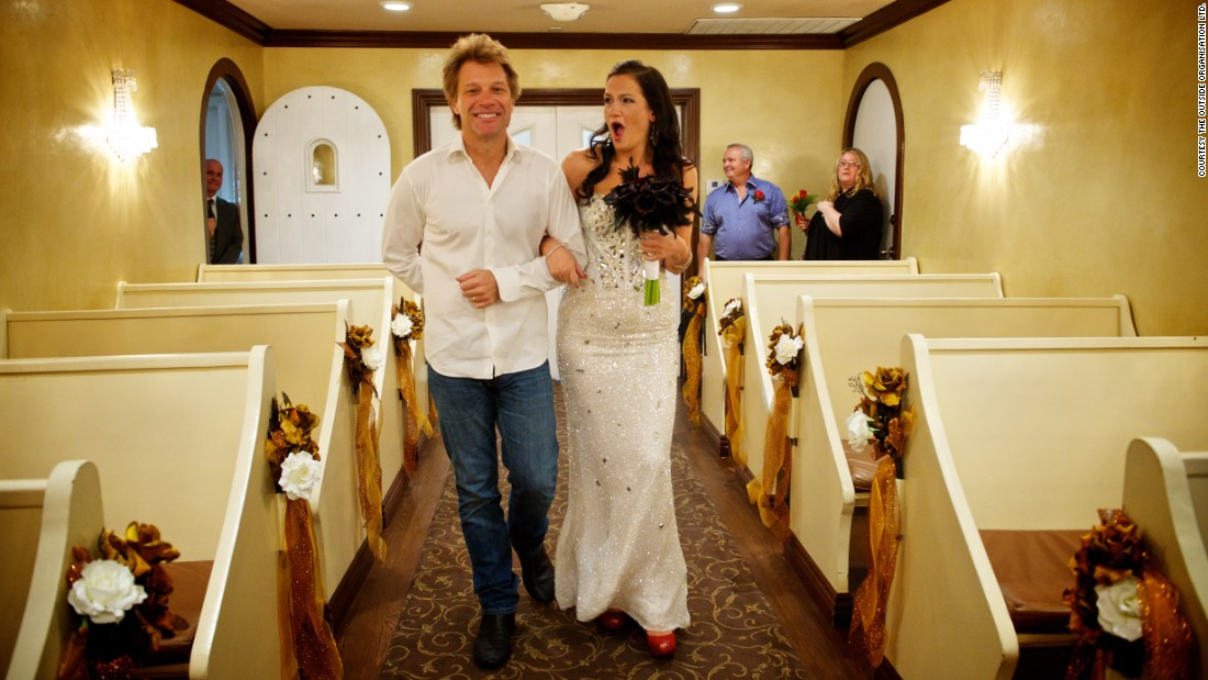 "<a href=""http://bonjoviwalkmedowntheaisle.com/"" target=""_blank"">After an online effort to make it happen, </a>Jon Bon Jovi walked Australian bride-to-be Branka Delic down the aisle before her wedding to Gonzalo Cladera at the Graceland Wedding Chapel in Las Vegas on October 12, 2013."