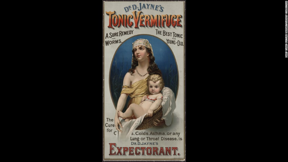 "<a href=""http://digital.lib.ecu.edu/20662#details"" target=""_blank"">Dr. D. Jayne's Expectorant</a> was sold in the late 1880s as a cure for coughs, colds and asthma, as well as a ""sure remedy for worms."" The tonic concoction was also used to help indigestion."