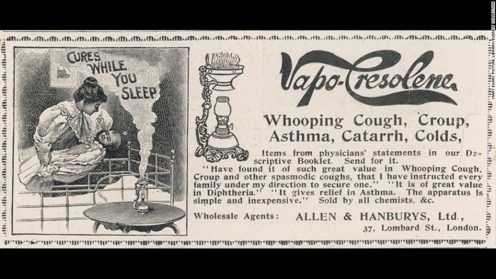 The Vapo-Cresolene vaporizer was supposed to cure whooping cough, croup, asthma and the common cold. Made with carbolic acid, it was advertised as a germ killer if inhaled.