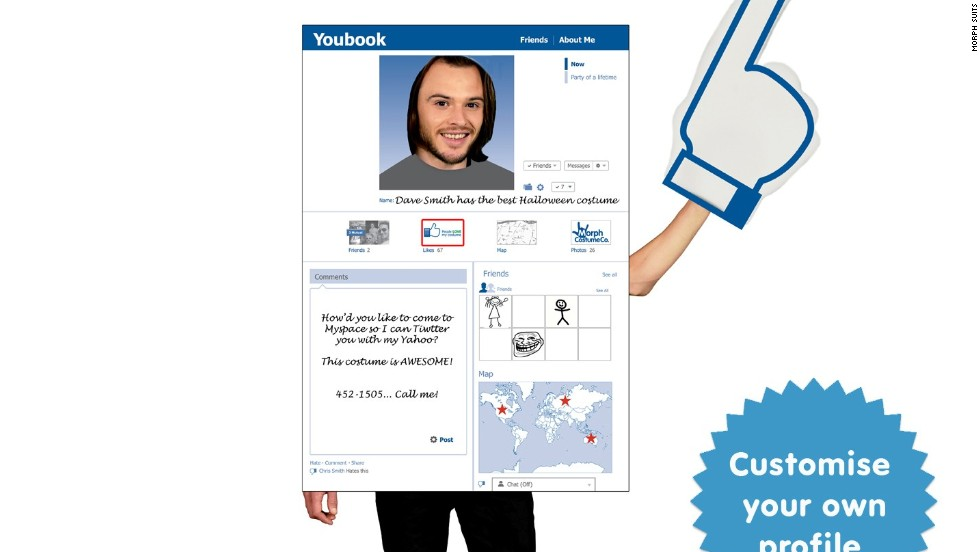 "Tally fake ""likes"" in real time with<a href=""http://www.morphsuits.com/computer-game-social-media-digital-morph-costume"" target=""_blank""> this giant Facebook profile</a> and a smartphone app."
