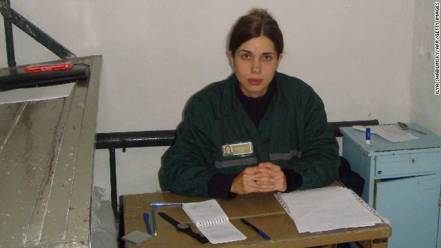 A picture taken on September 25 shows Nadezhda Tolokonnikova at her penal colony in the village of Partza.