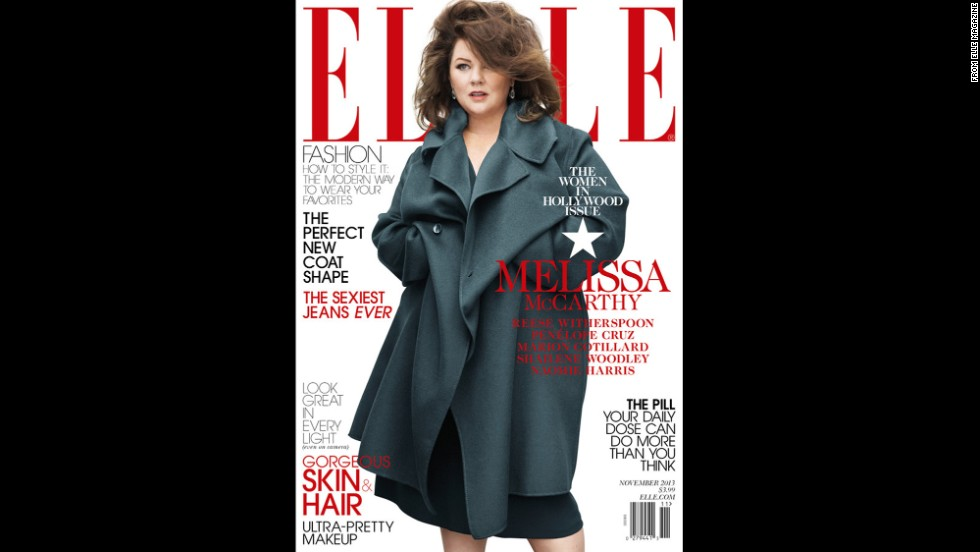 "With hair covering a portion of her face, and a loose-fitting coat that reveals little skin, some critics said that Elle magazine's November cover of actress Melissa McCarthy was fat-shaming. In response, Elle posted a follow-up item on its website that read in part, ""On all of our shoots, our stylists work with the stars to choose pieces they feel good in, and this is no different: Melissa loved this look, and is gorgeous on our cover."""