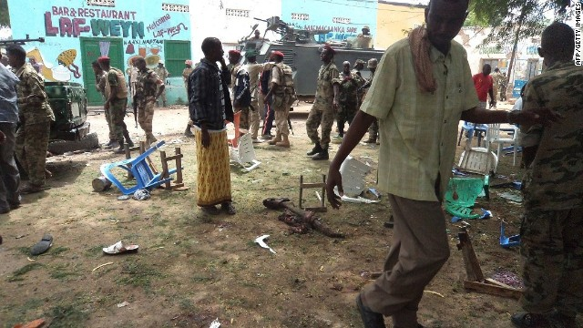 A crowd gathers at the site of a suicide attack on Saturday in Beledweyne, Somalia.