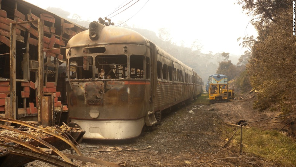 "In this photo provided by <a href=""http://www.zigzagrailway.com.au/"" target=""_blank"">Zig Zag Railway</a>, Rail Motor 2016 sits burnt out October 18 after the fires swept through the Australian heritage railway line near Lithgow."