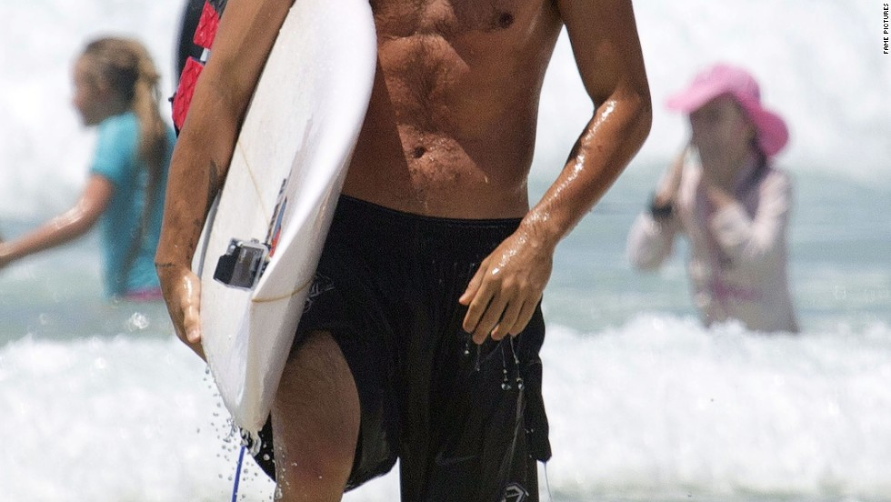 One Direction's Liam Payne hits the surf on Australia's Gold Coast on October 20.