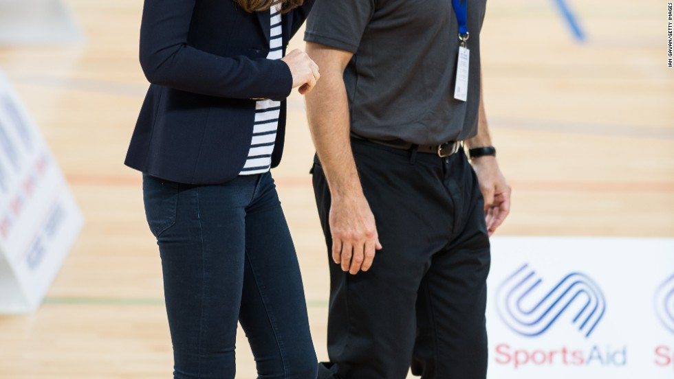 The Duchess of Cambridge steps on the court at a Sportaid Athlete Workshop at Queen Elizabeth Olympic Park on October 18.