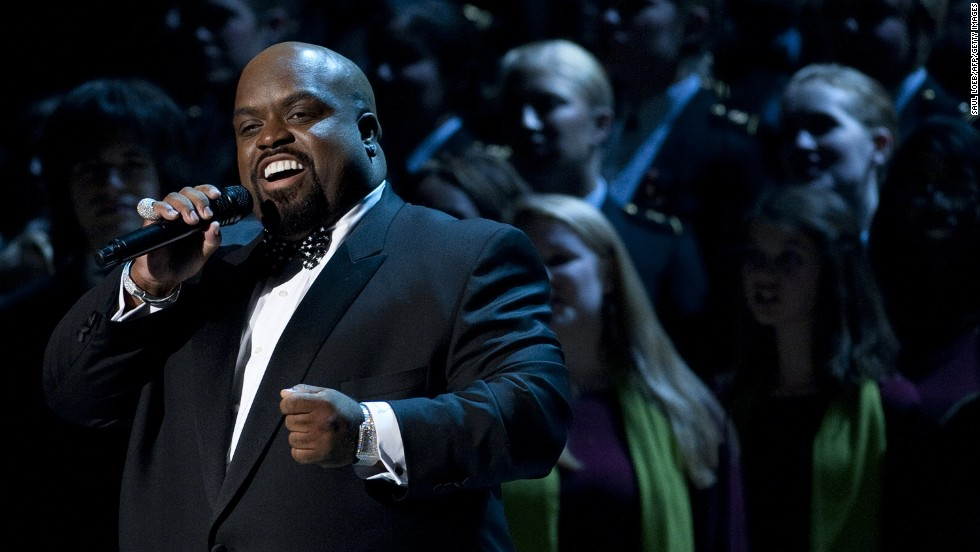 "Green sings during a taping of ""Christmas in Washington,"" on December 11, 2011. The show was attended by President Barack Obama and his family."