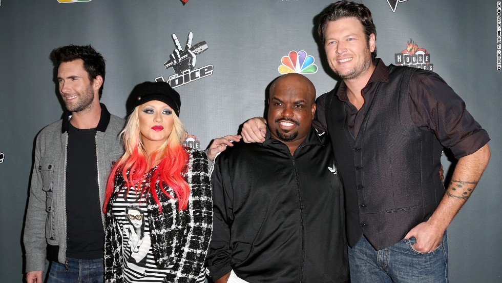 "Judges of ""The Voice"" -- Adam Levine (from left), Christina Aguilera, Green and Blake Shelton -- attend the Season 3 red carpet event on November 8, 2012, in West Hollywood, California."
