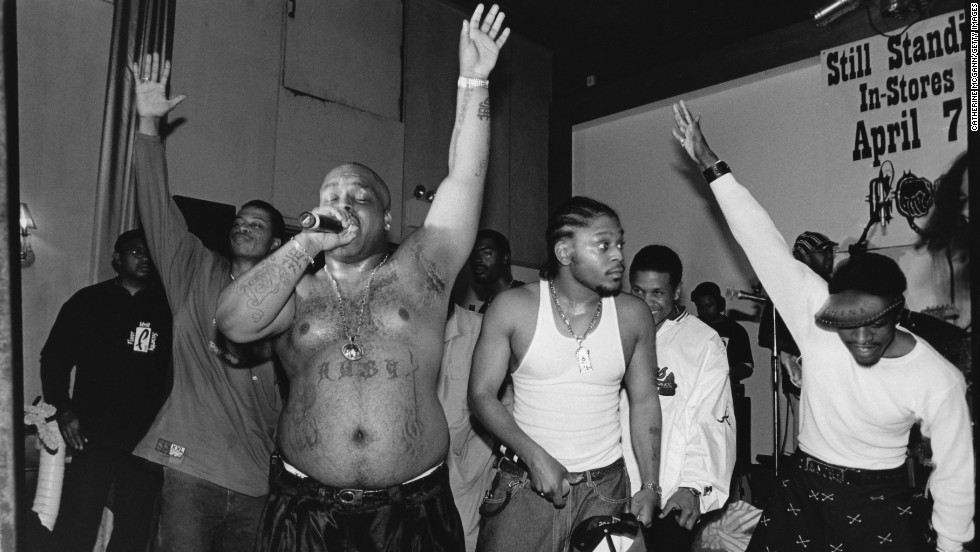 Southern rap group Goodie Mob, featuring CeeLo, perform live in 1998 in New York City.
