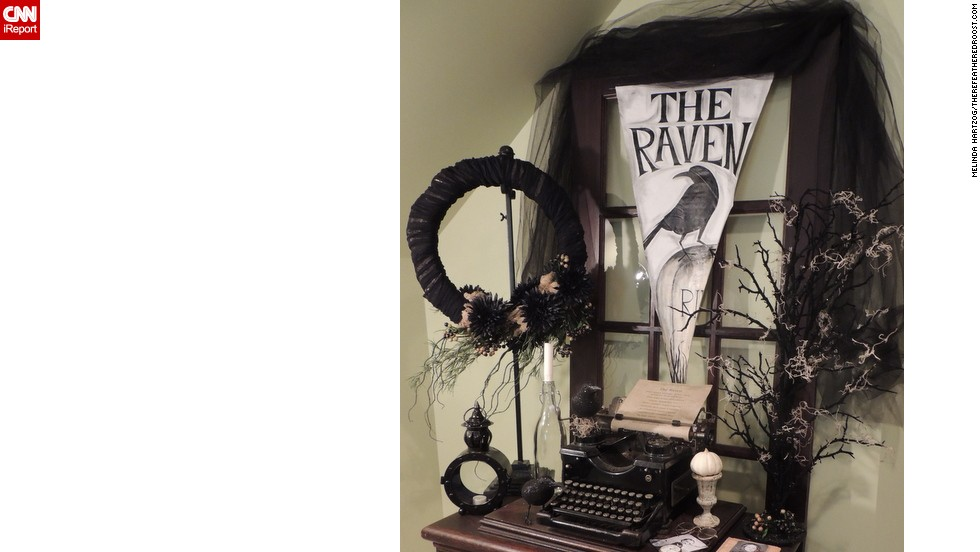 "Poe was a popular theme for Halloween this year. Blogger <a href=""http://ireport.cnn.com/docs/DOC-1051000"">Melinda Hartzog</a>'s desk creation was inspired by ""The Raven,"" also."