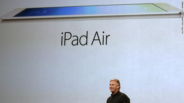 Apple marketing chief Phil Schiller announces the new iPad Air on October 22, 2013 in San Francisco.