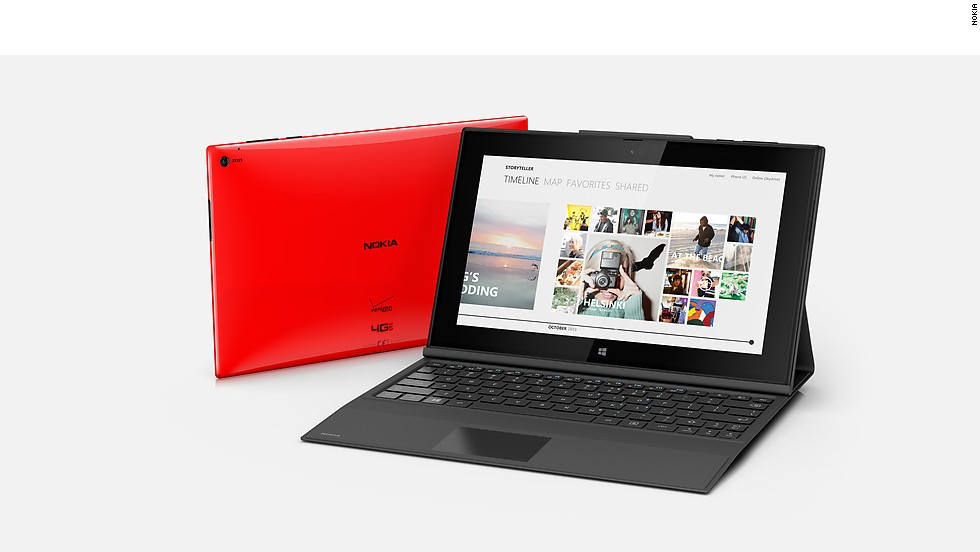 Nokia's first full-size tablet, the Lumia 2520, has a 10-inch display screen and runs a version of the Windows 8 operating system. It sells for $499, with 4G LTE and a 6.7-megapixel back-facing camera.