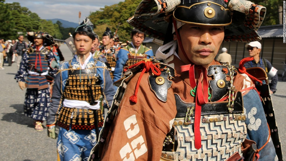 Each year approximately 2,000 people participate in the Jidai Matsuri festival on October 22, the anniversary of the foundation of Kyoto, Japan.