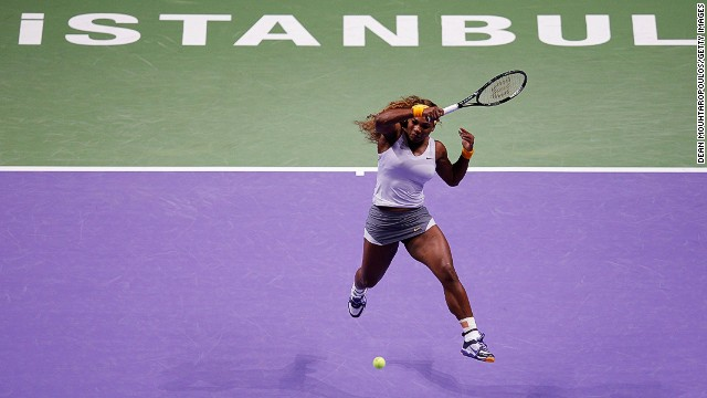 Serena Williams blasts a forehand winner during a straight sets win over Angelique Kerber at the Sinan Erdem Dome.
