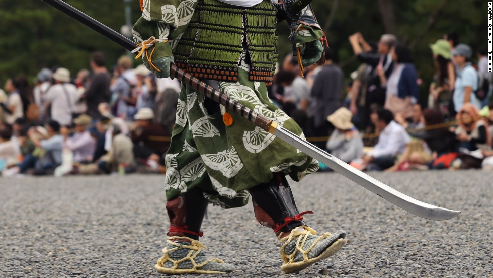 Japanese feudal history is represented in the annual Jidai Festival at Kyoto Imperial Palace.