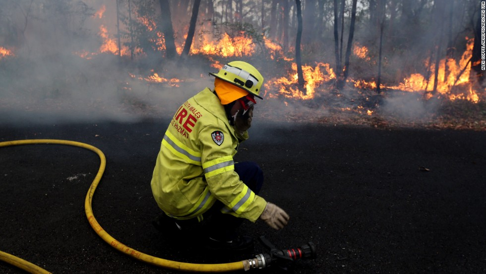 Rural Fire Service firefighters set up a  back burn near Springwood in the Blue Mountains on Tuesday, October 22.