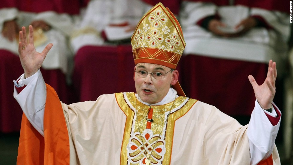 "German Bishop Franz-Peter Tebartz-van Elst speaks at Limburg Cathedral in Limburg, Germany, in August 2012. Coined the ""Bling Bishop,"" Tebartz-van Elst has been suspended from his position while he is under investigation for spending $42 million on renovations to his residence."