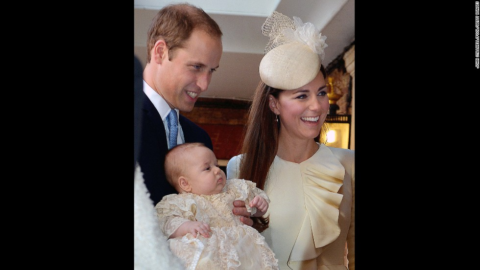 Prince George is seen with his parents prior to the christening.
