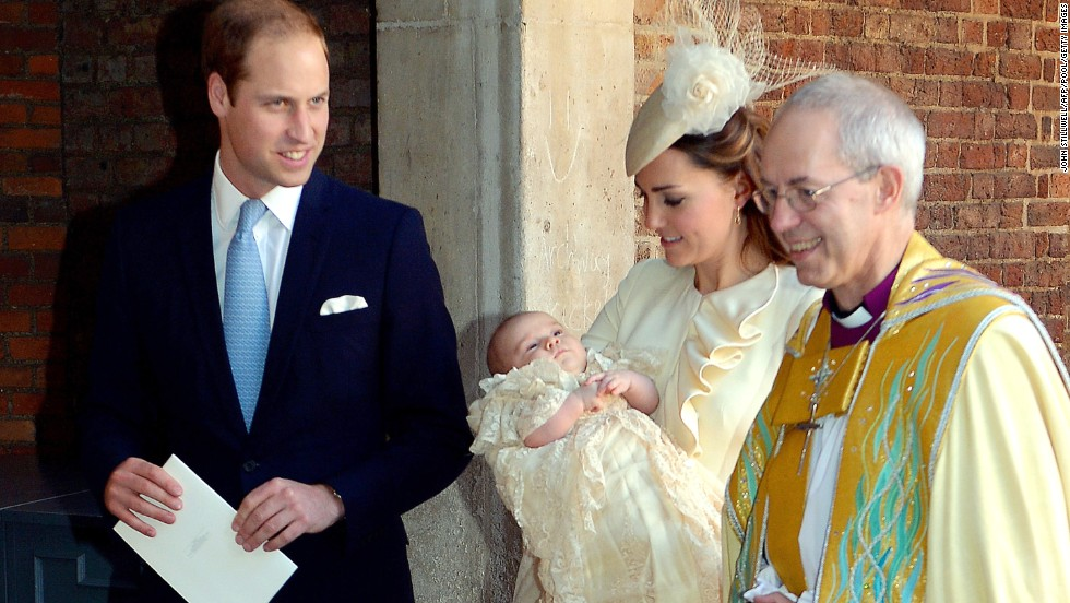William and Catherine speak to Archbishop of Canterbury Justin Welby after George's christening in London in October 2013.