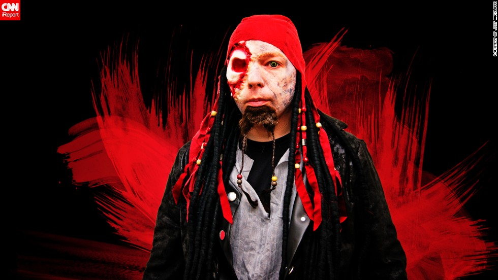 "It took Jeff Wickliffe, 38, an hour to perfect his zombie pirate costume for Halloween.<a href=""http://ireport.cnn.com/docs/DOC-1041062"" target=""_blank""> ""If it's not custom, it's not worth doing,""</a> said the professional photographer. ""My love of Halloween and handmade costumes goes back to childhood. My mom is very creative and would sew outfits and help apply make-up for whatever idea I could come up with. Halloween allows me to let my imagination run wild and display it in a very public way that can't be done the rest of the year,"" he said."